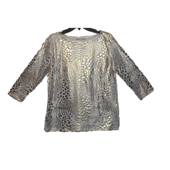 5eb288a448f Rebecca Malone Women s Gold Foil Print Top